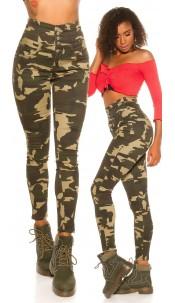 Sexy HighWaist Skinny Jeans Camouflage Army