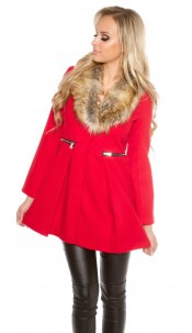 Trendy KouCla coat with fake fur collar Red
