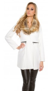 Trendy KouCla coat with fake fur collar White