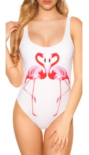 Trendy Swimsuit with Flamingo Print White