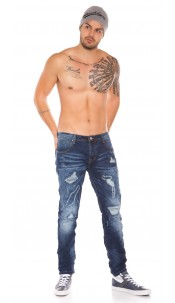 Trendy Mens Jeans in Used Look Jeansblue
