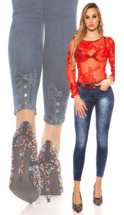 Sexy Skinny High Waist Jeans with decorative bow Jeansblue