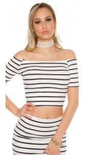 Sexy Ripp-Short Sleeve Crop Top shoulder-free Navy