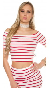 Sexy Ripp-Short Sleeve Crop Top shoulder-free Red