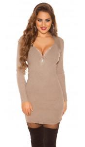Sexy 2in1 Look knit mini dress w. rhinestone zip Cappuccino