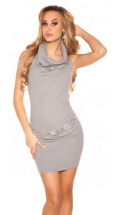 Sexy turtleneck rib knit mini dress Grey