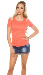 Sexy coldshoulder shirt with decorative sticks Coral