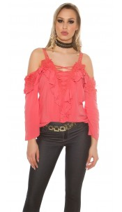 Sexy Carmenlook Blouse with flounce and lace Coral