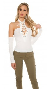 Sexy Neck Shirt shoulder-free w.laced decollete White