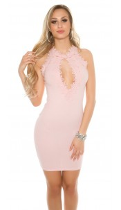 Sexy Ripp mini dress with lace and mesh Antiquepink