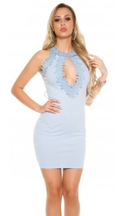 Sexy Ripp mini dress with lace and mesh Babyblue