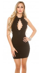Sexy Ripp mini dress with lace and mesh Black