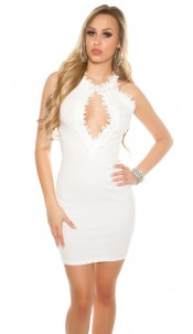 Sexy Ripp mini dress with lace and mesh White
