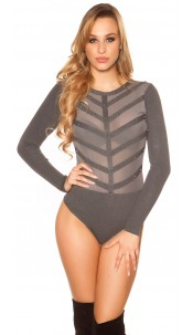 Sexy fine knit body with mesh and studs Anthracite