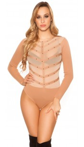 Sexy fine knit body with mesh and studs Caramel