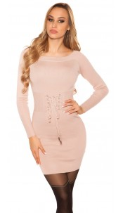 Sexy knit mini dress with lacing Antiquepink