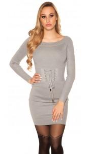 Sexy knit mini dress with lacing Grey