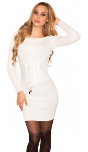 Sexy knit mini dress with lacing White