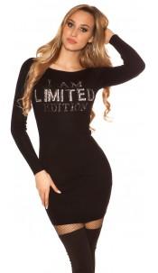 """Sexy knit mini dress """"I AM LIMITED EDITION"""" Black"""