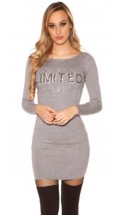"Sexy knit mini dress ""I AM LIMITED EDITION"" Grey"