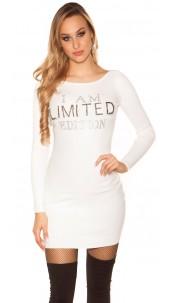 "Sexy knit mini dress ""I AM LIMITED EDITION"" White"