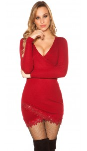 Sexy knit dress with lace and glitter studs Bordeaux