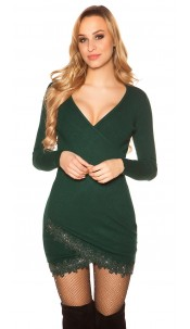 Sexy knit dress with lace and glitter studs Green