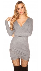 Sexy knit dress with lace and glitter studs Grey