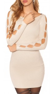 Sexy knit mini dress with rhinestones and stones Beige