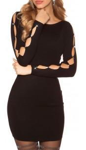 Sexy knit mini dress with rhinestones and stones Black
