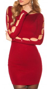 Sexy knit mini dress with rhinestones and stones Bordeaux