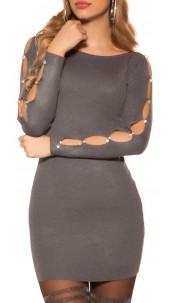 Sexy knit mini dress with rhinestones and stones Darkgrey