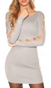 Sexy knit mini dress with rhinestones and stones Lightgrey