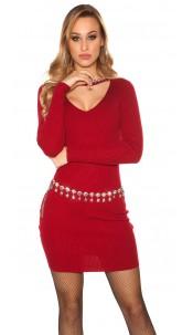 Sexy rib knit mini dress with rhinestones Bordeaux