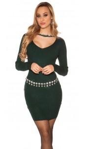 Sexy rib knit mini dress with rhinestones Green
