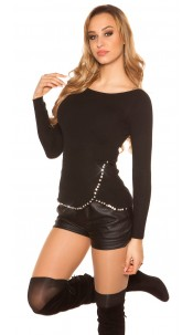 Trendy sweater with XL rhinestones Black