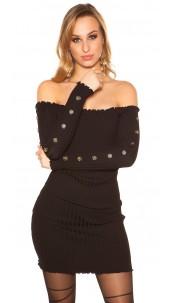 Sexy knit dress with deco buttons Carmen neckline Black