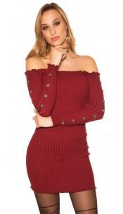 Sexy knit dress with deco buttons Carmen neckline Bordeaux