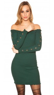 Sexy knit dress with deco buttons Carmen neckline Green