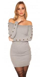 Sexy knit dress with deco buttons Carmen neckline Grey