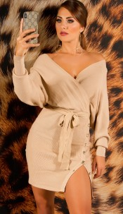 elegant V-Neck knit dress with slit Beige