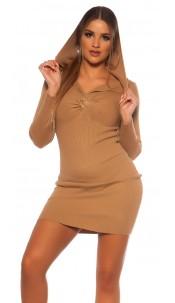 Sexy Rib knit Mini dress w. V neckline & hoodie Beige