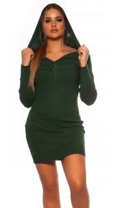 Sexy Rib knit Mini dress w. V neckline & hoodie Green