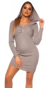 Sexy Rib knit Mini dress w. V neckline & hoodie Grey