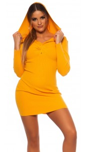 Sexy Rib knit Mini dress w. V neckline & hoodie Mustard