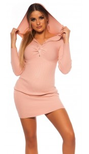 Sexy Rib knit Mini dress w. V neckline & hoodie Pink