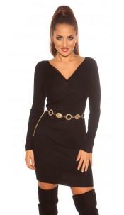 Sexy knit dress wrap look Black