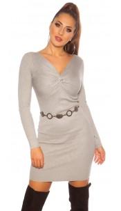 Sexy knit dress wrap look Grey