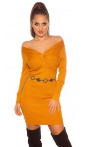 Sexy knit dress wrap look Mustard
