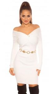 Sexy knit dress wrap look White
